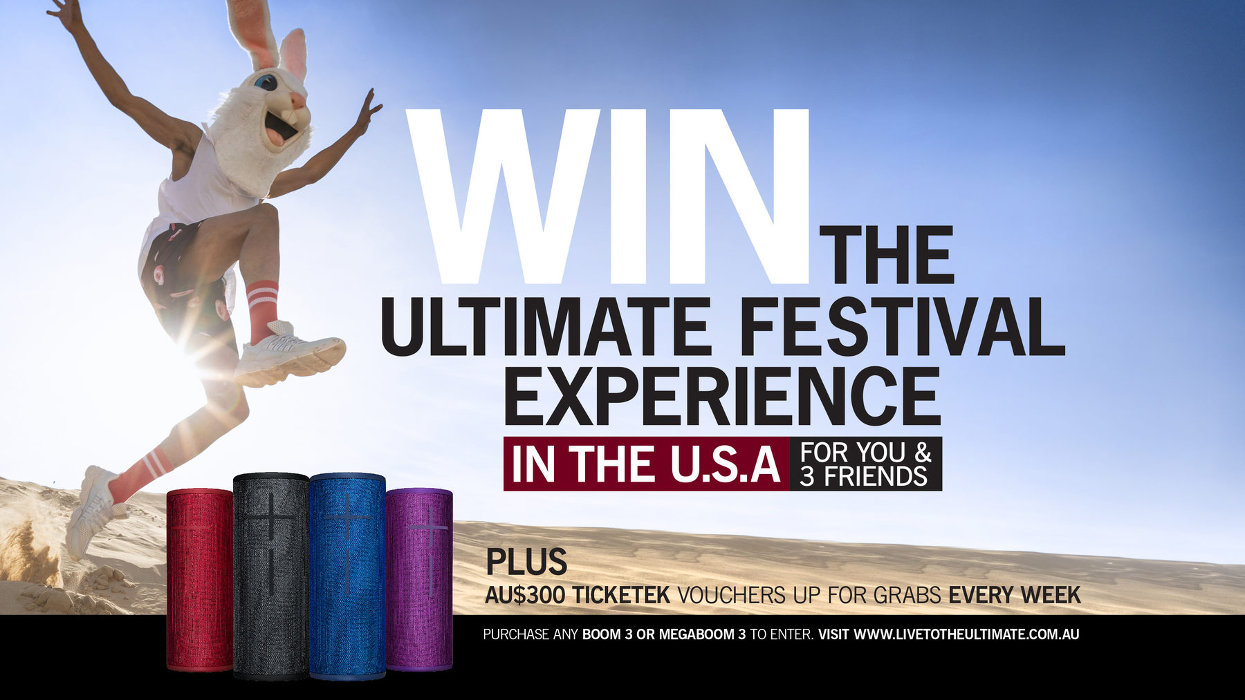 Win the ultimate festival experience in the U.S.A. for you & 3 friends