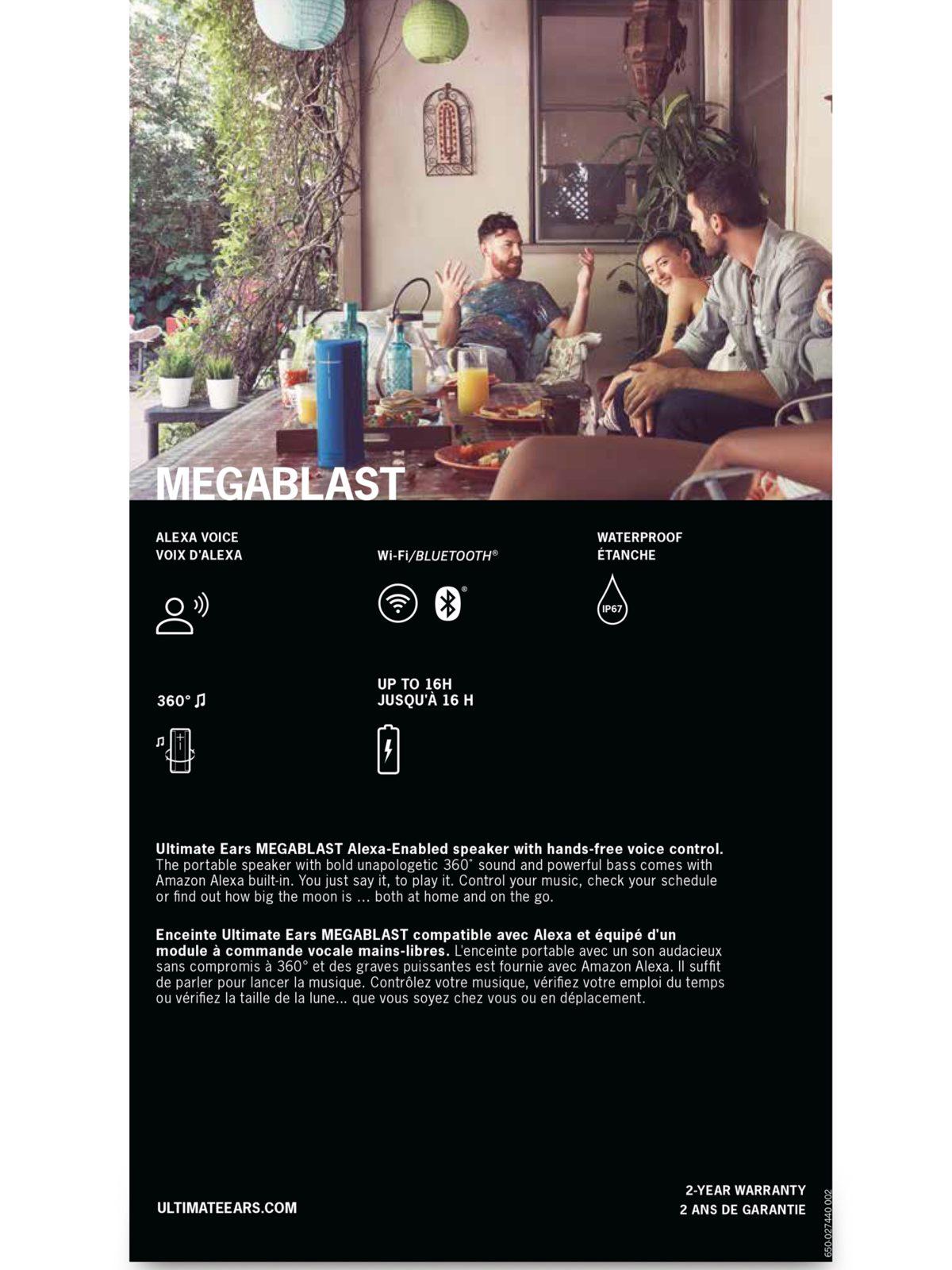 Ultimate Ears MEGABLAST Portable Wireless Speaker with Amazon Alexa
