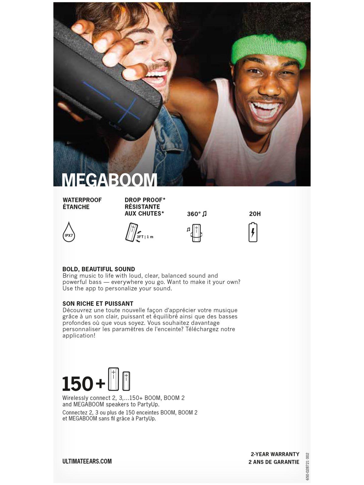 Ultimate Ears Megaboom Big Portable Bluetooth Speaker Plum In The Box